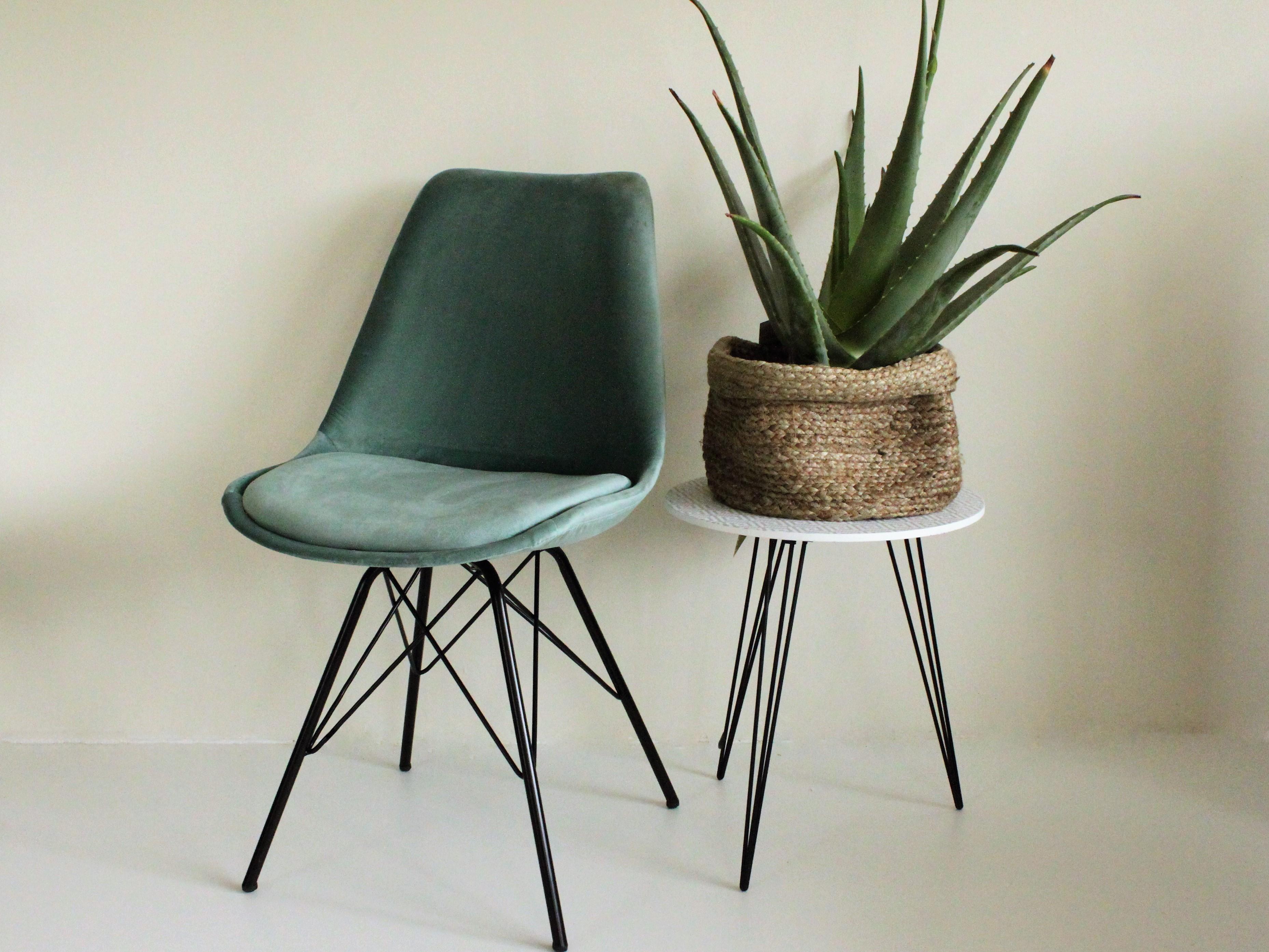 Velvet stoel mint