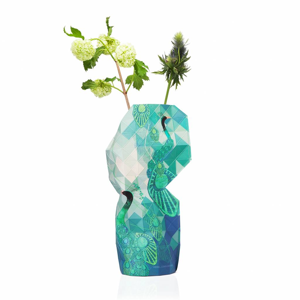 paper vase cover-peacock